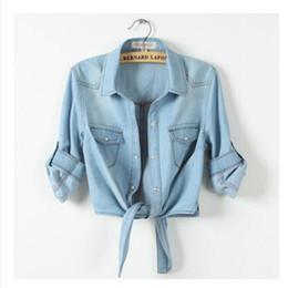 Wholesale Girls Denim Blouses - New 2016 Summer Women Casual Cropped sleeves Sleeve Denim Shirts women's Fashion Short Blouses Hot Sale Girls Slim Tops