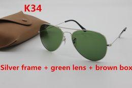 Wholesale High End Sunglasses - High-end brand aviator 58mm62mm men fashion sunglasses ladies retro gold frame driving sunglasses + brown box case