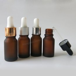Wholesale Dropper Frosted Glass - Wholesale- NEW 12pcs lot 10ml frost amber glass essential oil dropper bottle 1 3oz 10cc brown glass essential drop vials