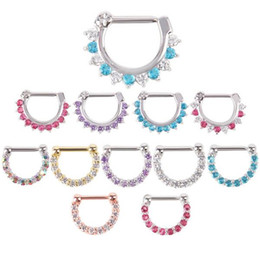 Wholesale Wholesale Septum Rings - 1Pc 16G (1.2mm) Zircon Septum Clicker CZ Daith Nose Ring Body Piercing Hanger Clip On Fashion Jewelry