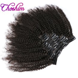 Wholesale Natural Hair Clip Ins - KL Hair 4B 4C Afro Kinky Curly Clip in Human Hair Extensions Natural Black Full Head Brazilian Remy Hair Clip ins Free Shipping