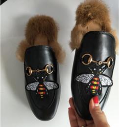Wholesale Black Velvet Heels Women - Fashion Brand Street Style Ladies Princetown Leather Slippers Velvet Fur Loafers Women Slides Slip On Flats Designer Lazy Casual Shoes