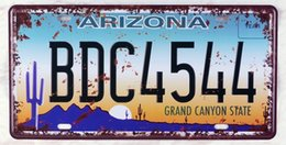 """Wholesale Decorative Wall Plaques - Wholesale- Retro license plate""""BDC-4544""""iron Plaque Bar Cafe Club Gallery Wall sticker Decorative painting decorations 15x30cm"""