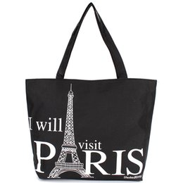Wholesale Girls Large Shopping Bags - Wholesale- Large Space Women Canvas Handbag Zipper Shopping Shoulder Bag Paris Eiffel Tower Pattern Girls Beach Bookbag Casual Tote Fashion