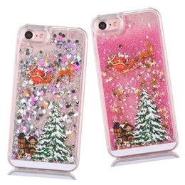 Wholesale 3d Christmas Iphone Case - For iphone 8 7 Fashion Christmas Trees 3D Dynamic Glitter Stars Liquid Quicksand Hard Phone Back Case Cover For 5 SE 6 Plus SCA337