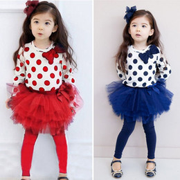 Wholesale Long Cotton Skirt Fashion - 2016 Fashion Girls Red Clothing Set With Polka Dot 2 PCS Set T Shirt And Tutu Skirt Spring Kids Clothes CS20705-59