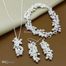 Wholesale Men Jewelry 925 Silver Piece - Wholesale-Christmas Jewelry Sets,high quality three pieces of beads Man,Women charms 925 sterling silver jewelry set ,wholesale fashion