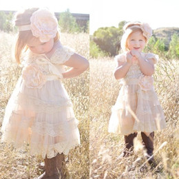 Wholesale Shabby Chic Lace Flowers - New Champagne Flower Girl Dresses 2016 Lace Pettidress Vintage Girls Pageant Dresses For Weddings Shabby Chic Rustic Infant Dresses