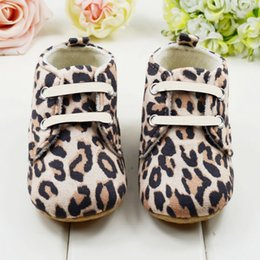 Wholesale Stylish Baby Boy Shoes - Wholesale- Cute Baby Girls First Walkers Lace Up Cotton Infant Stylish Toddler Leopard Shoes
