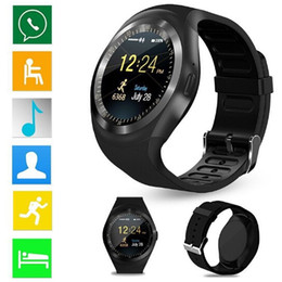 Wholesale watch mobile phone free shipping - Free Shipping Y1 Smart Watch Round Wrisbrand Android use 2G SIM card Intelligent mobile phone Smartwatch