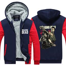Wholesale Active Walking - New Winter Men Tops The Walking Dead Printed Sweatshirts Hoodies Jacket Homme Thicken Zipper Man Coats Plus size