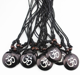 Wholesale Ohm Necklace - 12pcs Resin Carving AUM OM Ohm Hindu Buddhist Hinduism Yoga India Pendant Necklace Amulet Lucky Gift Fashion Jewelry MN578
