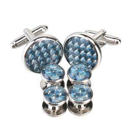 Wholesale Light Blue Cufflinks - 2017 The New Light blue Fashion Cufflinks and Studs Set for Men with Packing 2 pcs cufflinks & 4 pcs Studs