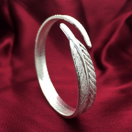Wholesale Bling Jewellry - Bling Laser-cutted Silver Feather Wrap Bangle In Diameter 55MM Opened Adjustable For Women And Unisex Wholesale Bracelet Jewellry