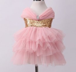 Wholesale Hot Korean Girls - Korean Children Clothing Hot Sell Summer Baby Kids Clothes Girls Dimond Sequins Bow Tulle Tutu Dresses Princess Ball Gown Dresses 9196