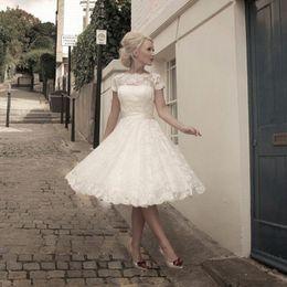 Wholesale Pretty Wedding Dresses - Vestidos de Novia Cheap See through Back Pretty Appliques Plus size Scoop Knee-Length Lace Short Wedding Dresses Garden Bridal gown