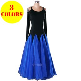 Wholesale Pink Ballroom Dresses - New Released Women Ballroom Dancing Dress 3 Colors Available Ballroom Dance Dress Women Flamenco Dresses CADB002