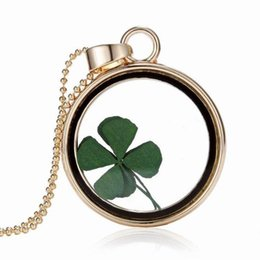 Wholesale Real Clover Necklace - St Patricks Day Four Leaf Clover Shamrock Real Flower Necklace Pressed Botanical Circle Gold Jewelry Pendant Lucky Charm