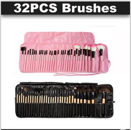 Wholesale Eyeliner Case - 32pcs Professional Makeup Brushes Wood pink black mini Set Cosmetic Brush Set Roll Up Case Eyeliner Eyeshadow Brush Makeup Tools DHL