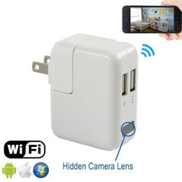 Wholesale Adapter Dvr Spy - 10pcs HD 1080P Wifi Camera USB Power Adapter Hidden Camera Wireless Phone Charger Spy Cam Real Wall AC Plug Suveillance Camera Security DVR