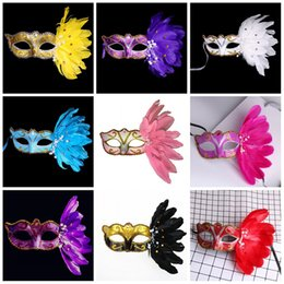 Wholesale Colored Face Masks - Princess Vizard Mask Christmas Halloween Colored Feather Masks For Women Party Dress Up Glyptostrobus White Black 4 75hx B R