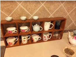 Wholesale Living Room Wooden Cabinets - Vintage Wooden Display Rack Wall Cabinet 69*9*29CM