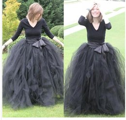 Wholesale Long Ruffle Skirt Gown - Cheap Floor Length Ball Gown Skirts For Women Ruffled Tulle Long Skirt Adult Women Tutu Skirts Lady Formal Party Skirts With Sashes