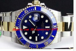 Wholesale Fold File - Top Quality Luxury Watches Sapphire 40mm Blue Index Dial 116613 Automatic Sport Mens Watch Men's Wrist Watches Original Box File