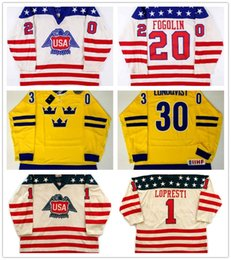 Wholesale Olympic Cup - Customize 20 Lee Fogolin 1 Pete Lopresti 1976 Team USA Canada Cup Game Jersey 30 Henrik Lundqvist Team Sweden Olympic Ice Hockey Jerseys