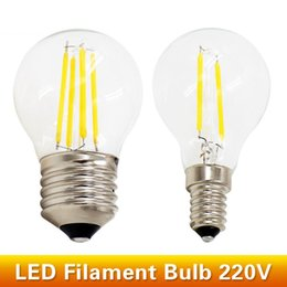 Wholesale E14 Fitting - G45 LED Filament Ball Bulb E27 E14 220V 2W 4W Retro Loft Style Fit For Chandelier Rope Lights Table Light
