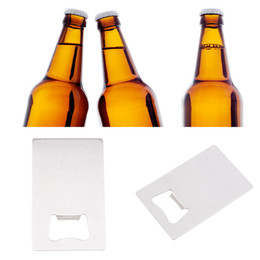 Wholesale Bottle Opener Credit Card - Hot Search 1 Piece Free Shipping Wallet Size Stainless Steel Credit Card Bottle Opener Business Card Beer Openers