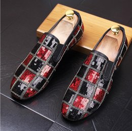 Wholesale Low Heel Gold Glitter Shoes - New Style Handmade Men Loafers Shoes Luxurious Glitter Party Wedding Shoes Men's Slipper Casual Flats Driving Shoes EU 38-43