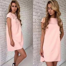 Wholesale Short Pink Night Dresses - 2017 Women's Summer Dresses Short Sleeve Solid Color Party Night Club Dress Round Neck Slim A-line Dresses Ladies Vestidos