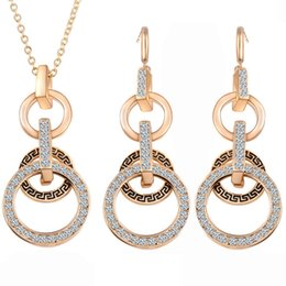 Wholesale Womens Gift Sets - Brand New Womens Crystal Pendant Gold Plated Chain Necklace Stud Earring Jewelry Set Free Shipping[GE06606]