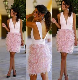 Wholesale Open Back White Cocktail Dresses - Cute Deep V Neck Pink Cocktail Dresses 2017 Short Feather Prom Dresses Open Back Semi Formal Gowns Graduation Dress South Africa USA