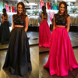 Wholesale hot girl open - Hot Pink Black Prom Dresses 2016 Cheap Two Pieces Cap Sleeves Open Back Appliques Lace Satin Plus Size Sweet Girl Gown Graduation Dress