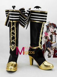 Wholesale Maids Shoes - Wholesale-Anime Love Live! Nico Yazawa Maid Cosplay Party Shoes Black and Golden Customized Size Boots
