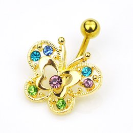 Wholesale Navel Belly Button Piercing Butterfly - Golden Crystal butterfly Dangle Body Piercing Rhinestone Navel Belly Button Ring PI01