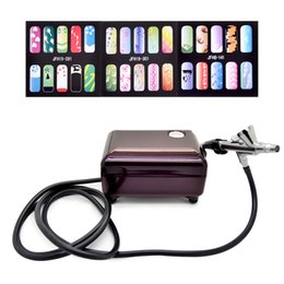 Wholesale Airbrush Pink - Airbrush Compressor Kit Portable Airbrush Tattoo Make Up 3 Speeds Adjustable Tattoo Airbrush For Nail And Cake Painting