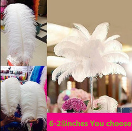 Wholesale Wholesale White Ostrich Feathers - wholesale 50pcs lot 6-26 inch Ostrich Feather Plume white,Wedding centerpieces table centerpiece decor party event decor