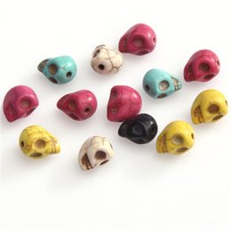Wholesale Turquoise Skulls Bracelet - 20pcs lot Fashion Multi-colored Skull Patterned Turquoise Beads Fashion Jewelry Spacers Charm for DIY Bracelets Making