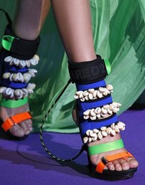 Wholesale Elastic Strap Gladiator - 2016 newest handmade sexy nightclub hit color Stiletto heels ladies sandals elastic cloth Colorful shell open toe women sandals