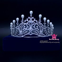 Wholesale Hair Accessories Stones - Pageant Crown Tiaras CZ AAA Stone Pearl Classic Queen Princess Bridal Wedding Hair Accessories Headband Headpiece Fashion Jewelry mg027