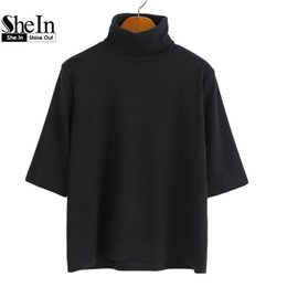 Wholesale Basic Tee Crop Top - Wholesale-SheIn Crop Tops New Style Casual Plain Shirts Loose High Neck Half Sleeve Summer Women Tees High Low Basic T-shirt