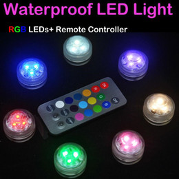 Wholesale Led Lights Xmas Decorations - 12pcs Lot Wedding Decoration 3 RGB LED Remote Control Mini Waterproof Submersible Led Party Lights With Battery For Halloween Xmas Party