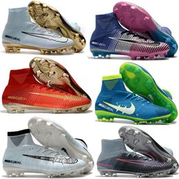 Wholesale Brown Sg - Original Rising Fast Pack Mercurial Superfly CR7 FG Football Boots Ronaldo Magista Obra Soccer Shoes Neymar SG Phantom Soccer Cleats