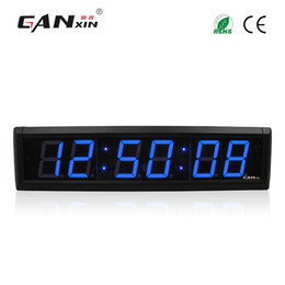 Wholesale Led Timers Clocks - [Ganxin]2.3 inch 6 Digits LED Digital Wall Clock Blue Color LED Timer with Remote Control