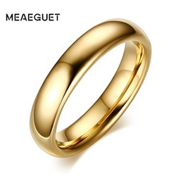 Wholesale Pure Gold Rings Men - Meaeguet Fashion 100% Pure Tungsten Carbide Rings 6MM Wide Gold-Color Wedding Bands For Women Men Jewelry