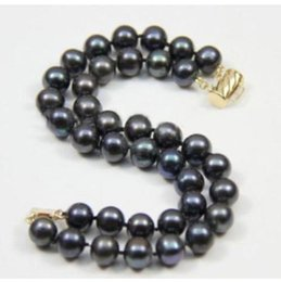 Wholesale 14k Solid Gold Snake Chain - NEW 2 ROW 9-10MM JAPANESE AKOYA BLACK PEARL BRACELET 14K SOLID GOLD MARKED