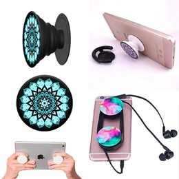 Wholesale Black Glue - New Cell Phone Holders with blue Package Real 3M glue Expandable Grip Stand 360 Degree Finger Holder Flexible For Phone Tablets